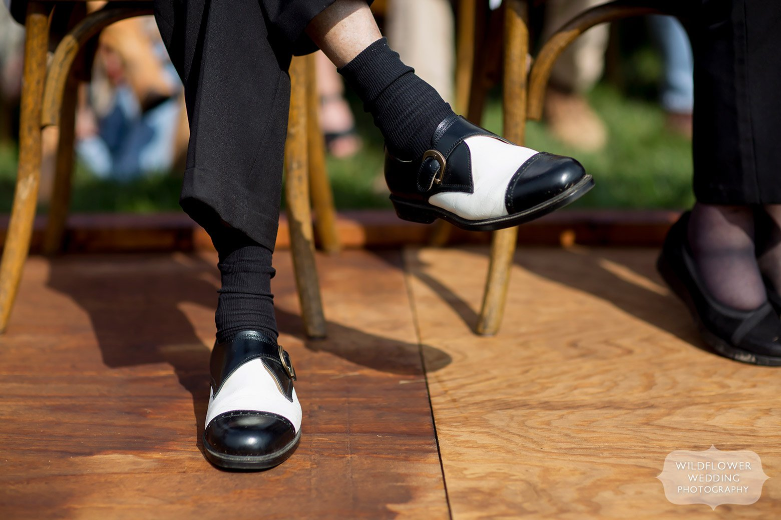 Black and white wing tips shoes in Hermann, MO.