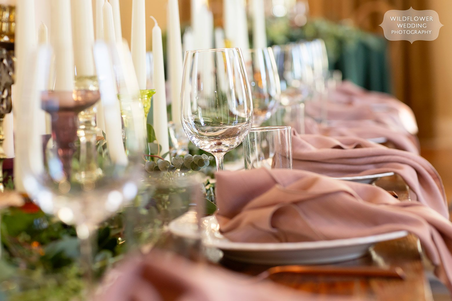 Winter wedding decor ideas with mauve and evergreen colors in mid-Missouri.
