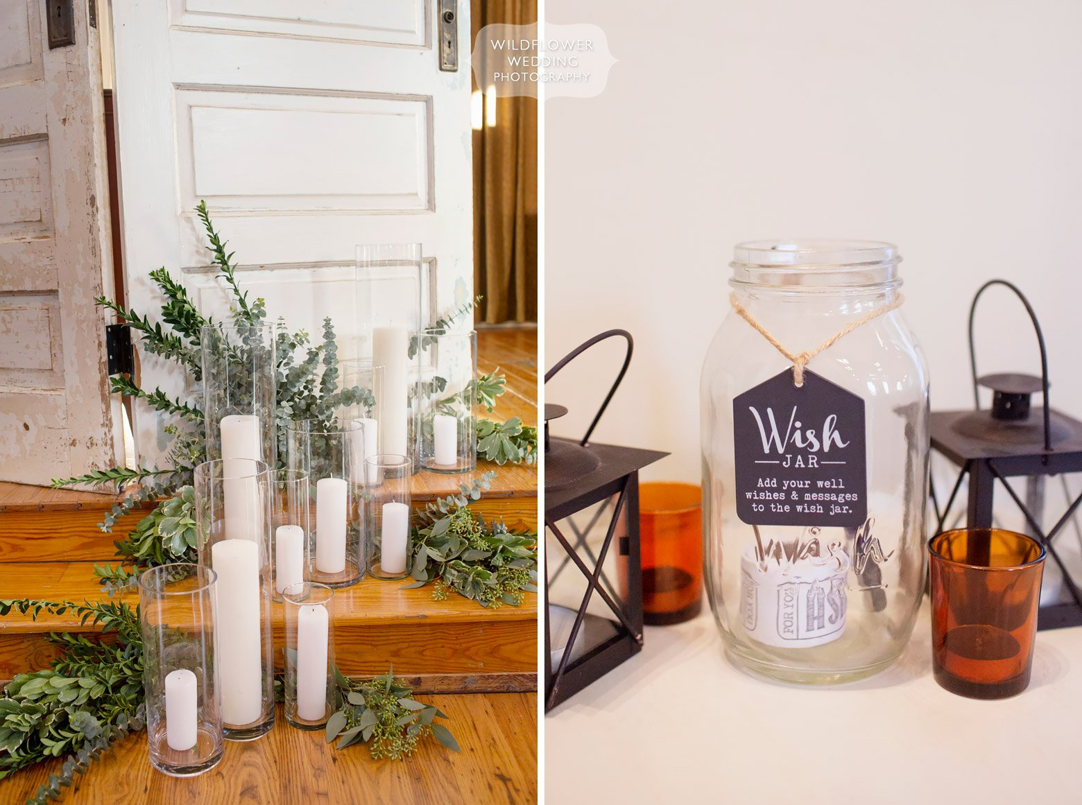 Wish jar for wedding guests to write messages.