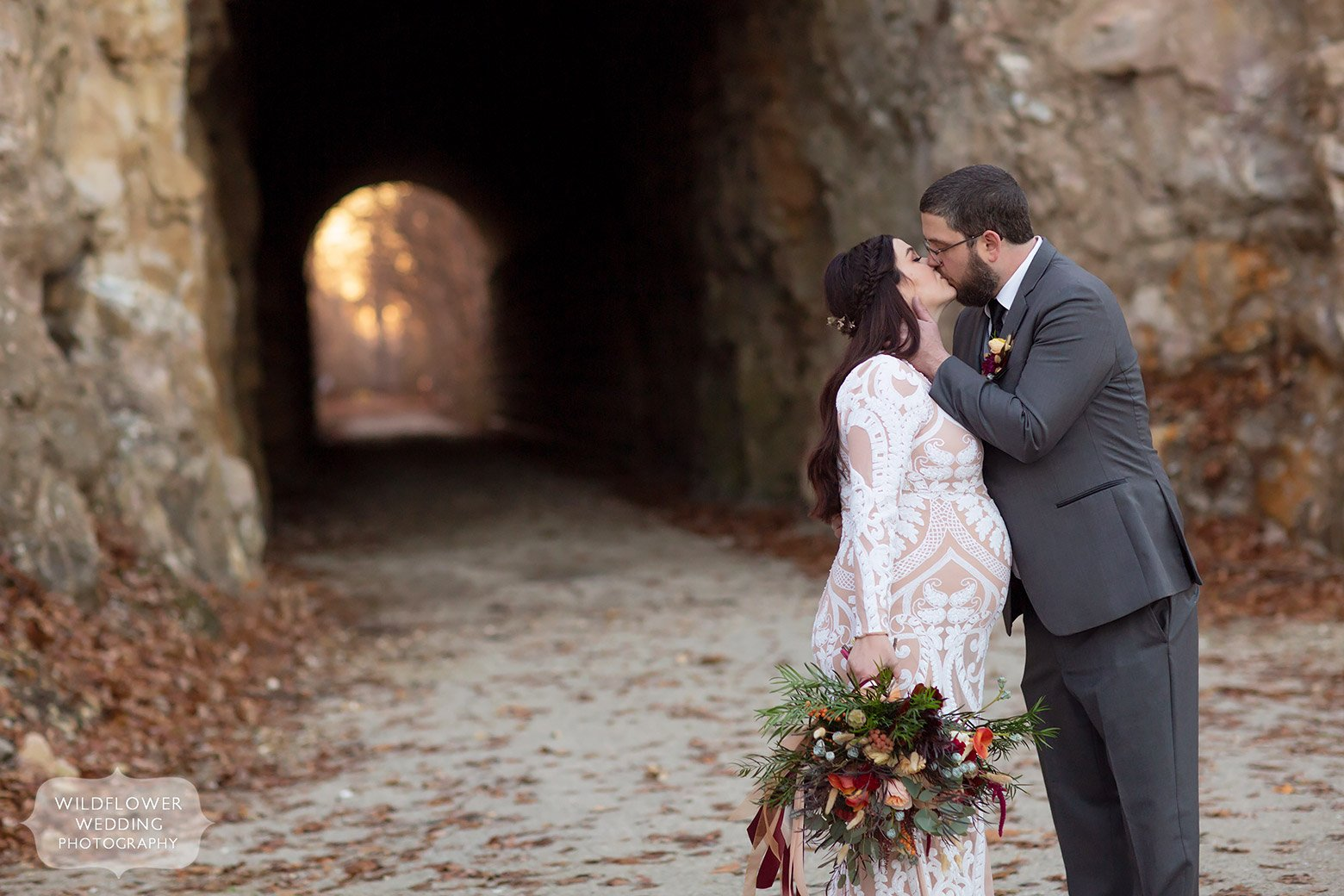 Winter wedding elopement in Katy Trail tunnel in Rocheport, MO.