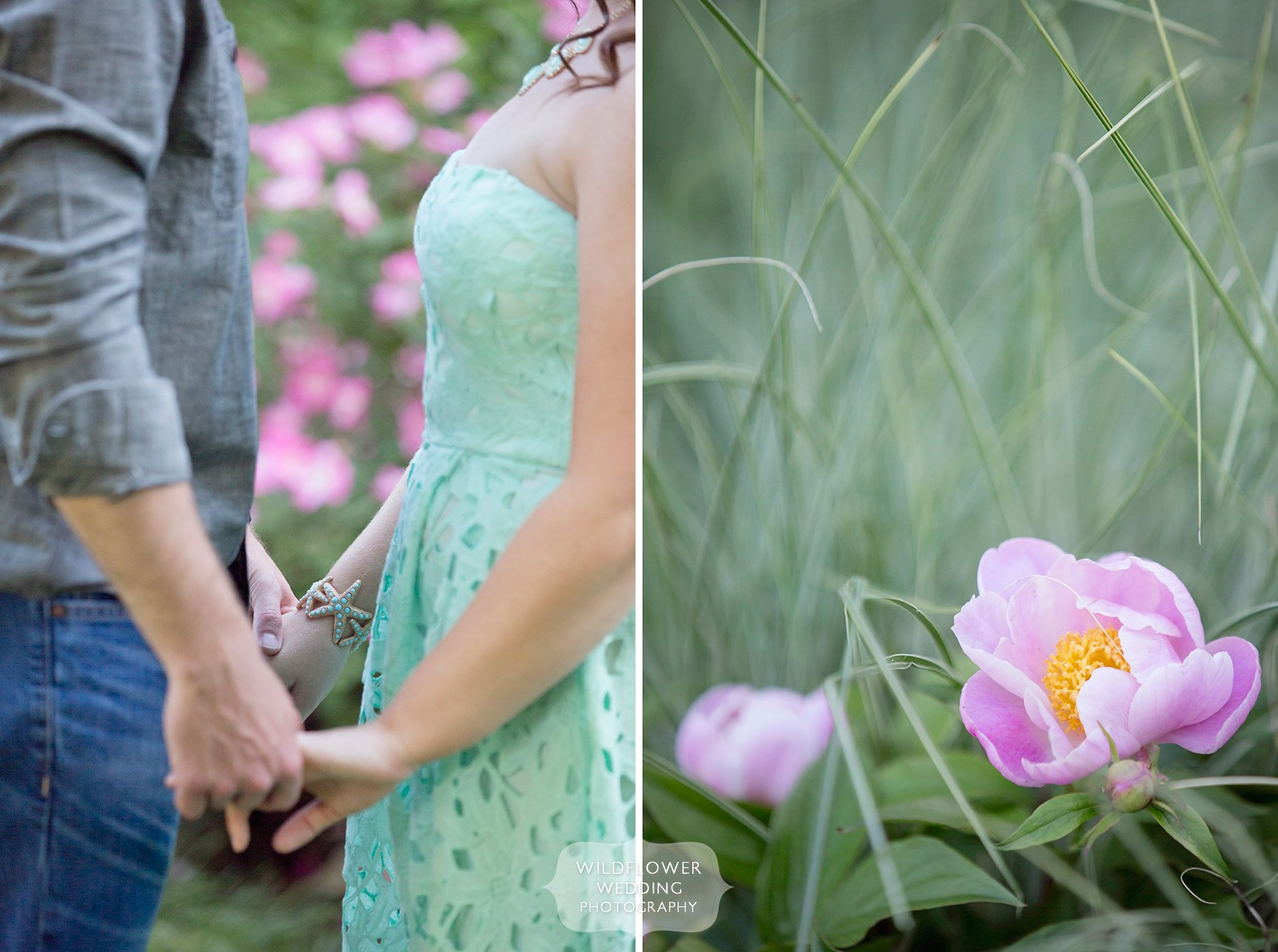 Candid and natural photo of Aly and Josh for the spring engagement photography session holding hands in Peace Park, Columbia, MO.