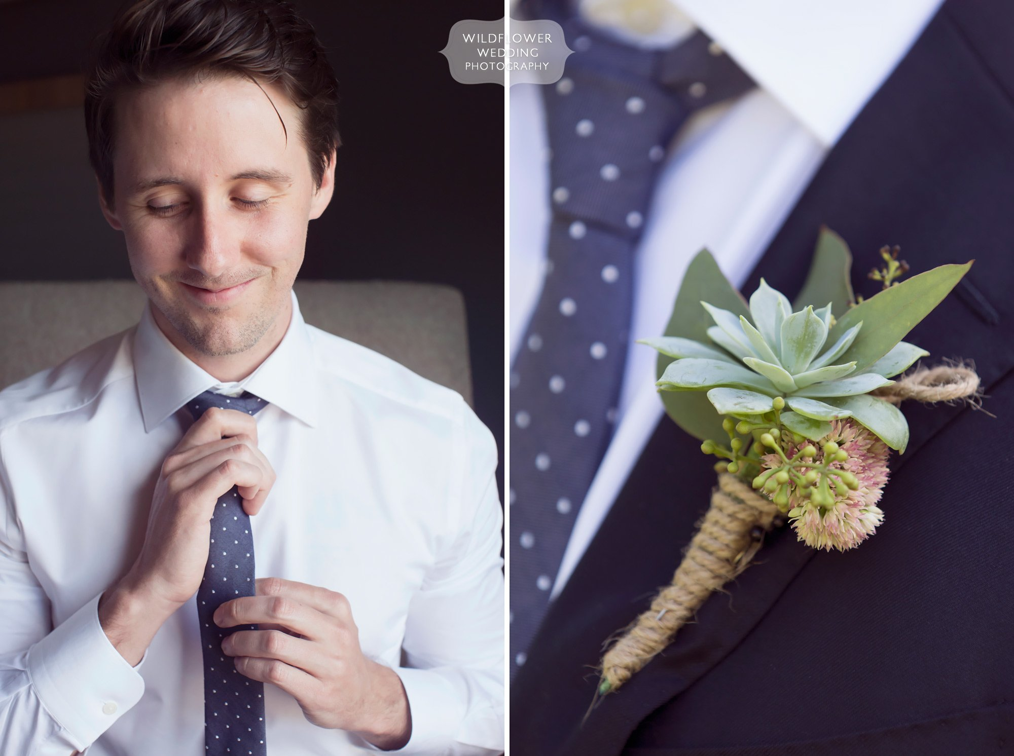 Artsy wedding photography of the groom getting ready with a succulent boutonniere and polka dot tie in Columbia, MO.