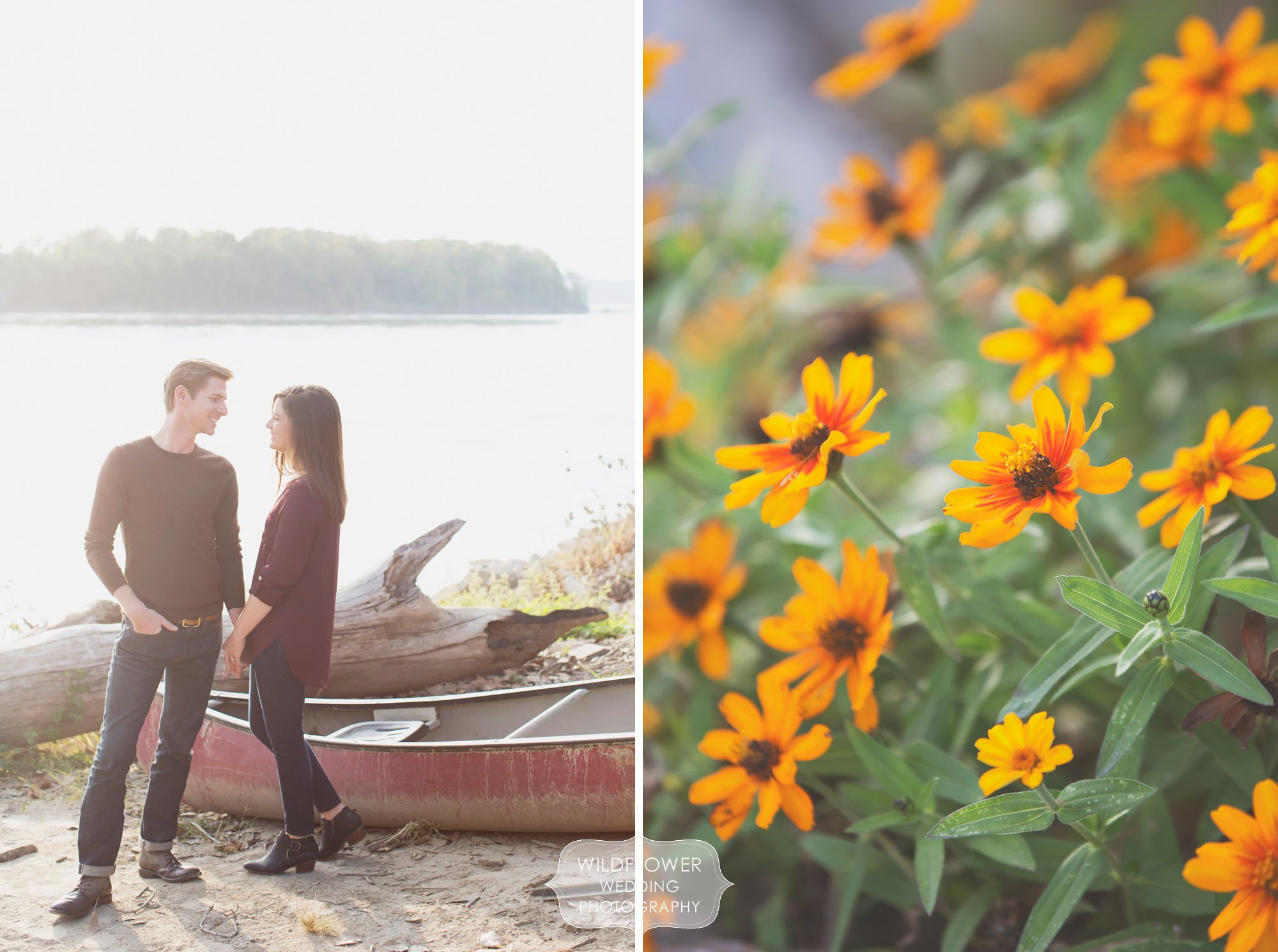 Nature inspired engagement photography session at Cooper's Landing in Columbia, MO.