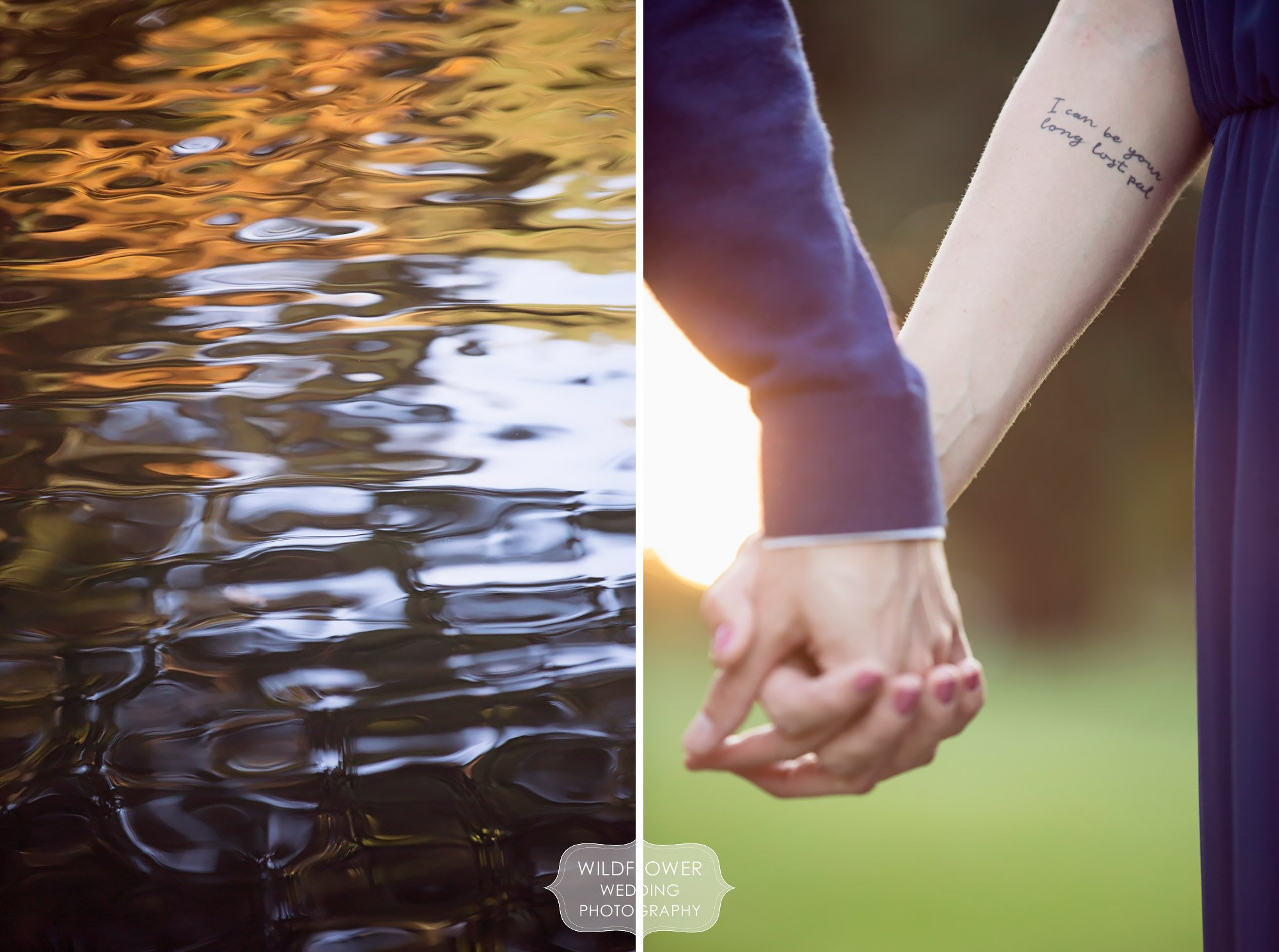 Nature inspired engagement photo session at Loose Park in KC, MO with bride with tattoos.