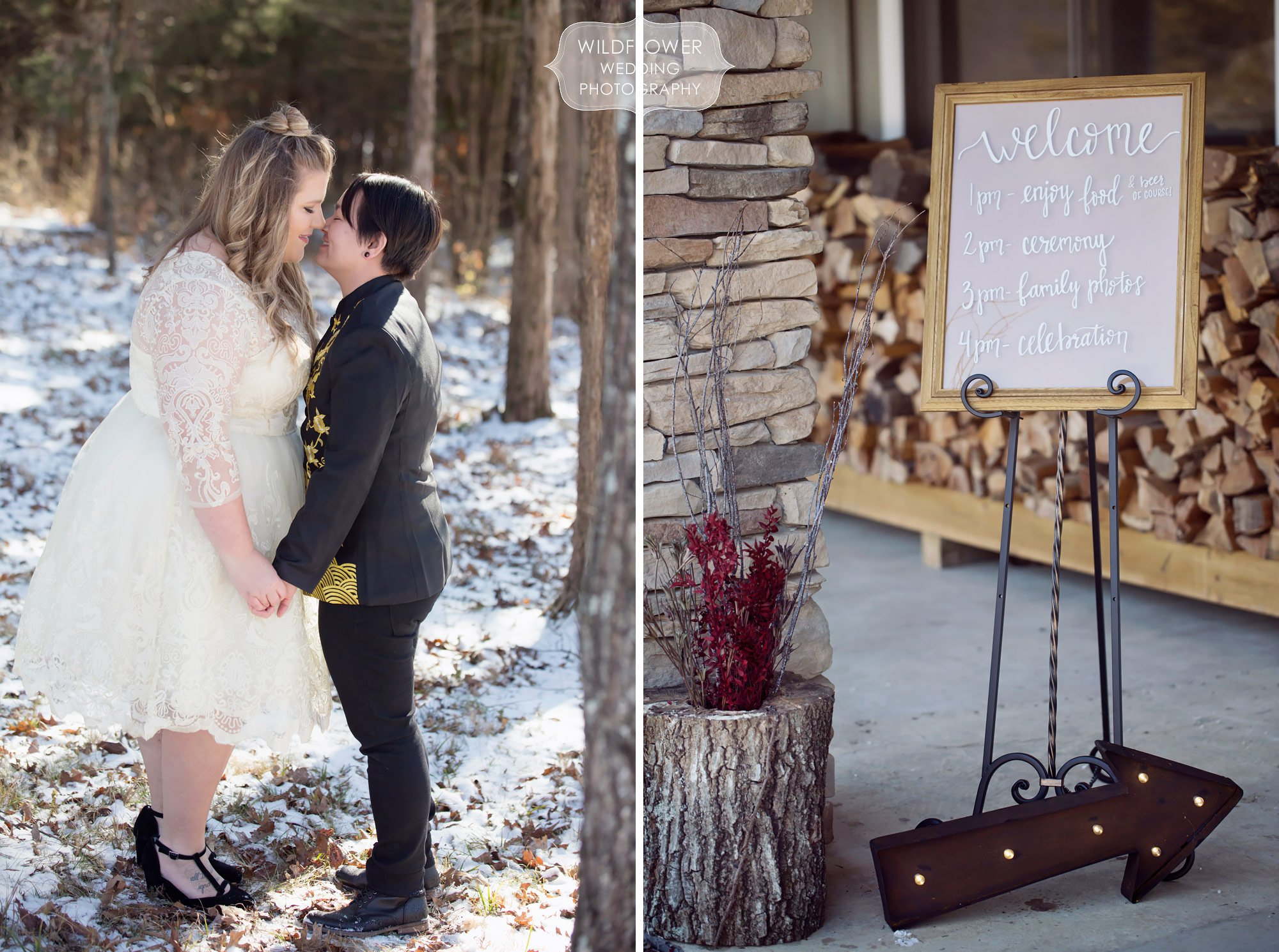 Two women embrace in snowy woods during their same sex wedding in Columbia, MO.