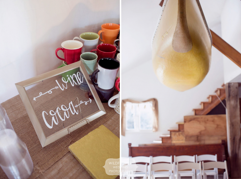 A simple sign for hot cocoa and coffee on a burlap table at this winter wedding in mid-Missouri.