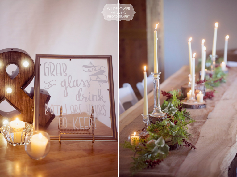 Candles and green garlands line this harvest table at this winter wedding in MO.