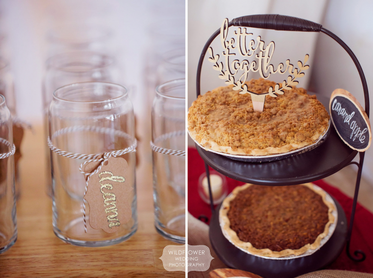Personalized glasses and a modern wood cut cake topper were on display at this winter wedding in MO.