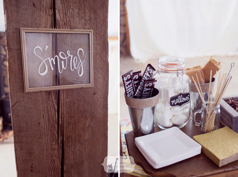Awesome idea for a winter wedding treat, this smores bar had marshmallows, chocolate and an indoor roasting set up.
