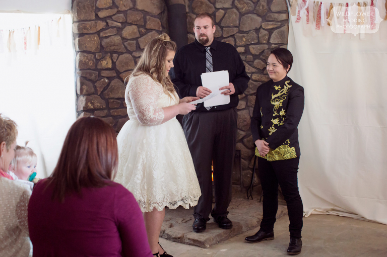 Two women read their handwritten vows to each other during their same sex wedding in January.