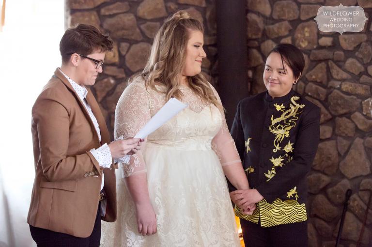 Missouri same sex wedding ceremony between two queer women in Columbia, MO.