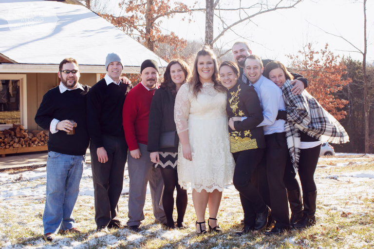 Group photo of friends after this winter wedding in Columbia, MO.