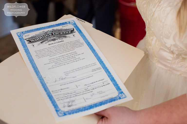 Marriage license for a gay couple in Columbia, MO after their winter wedding.
