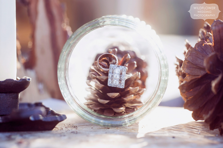 Fine art style photo of the wedding rings in an antique jar with pine cones for this January wedding.