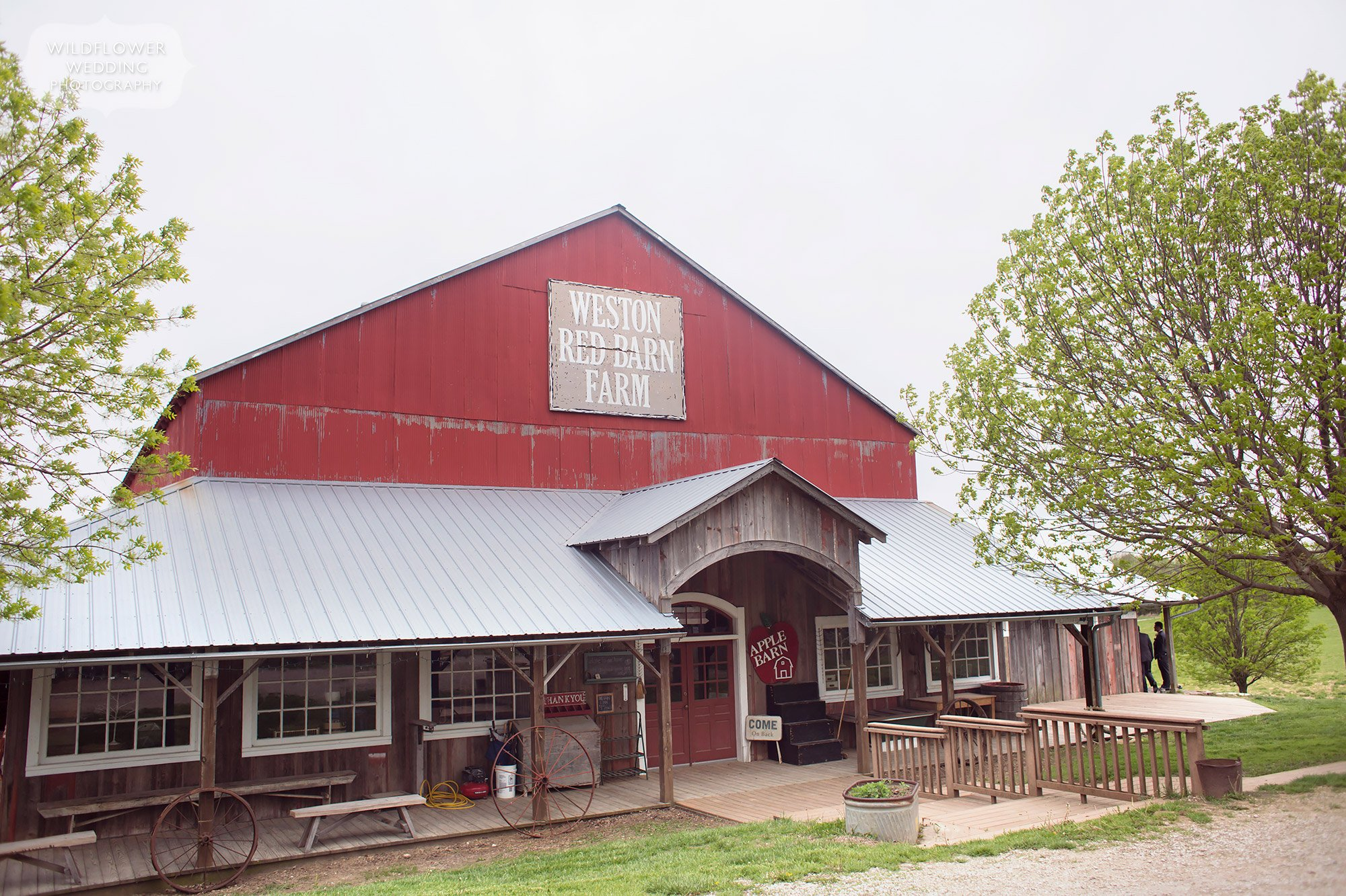 View of the Weston Red Barn Farm store, a rustic wedding venue just north of Kansas City, MO.