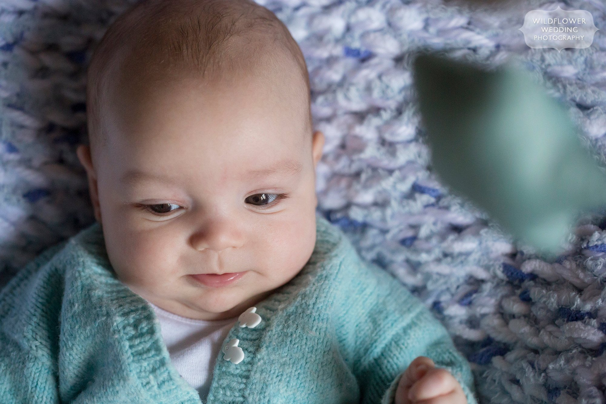 Cute baby photography with handknit mint sweater.