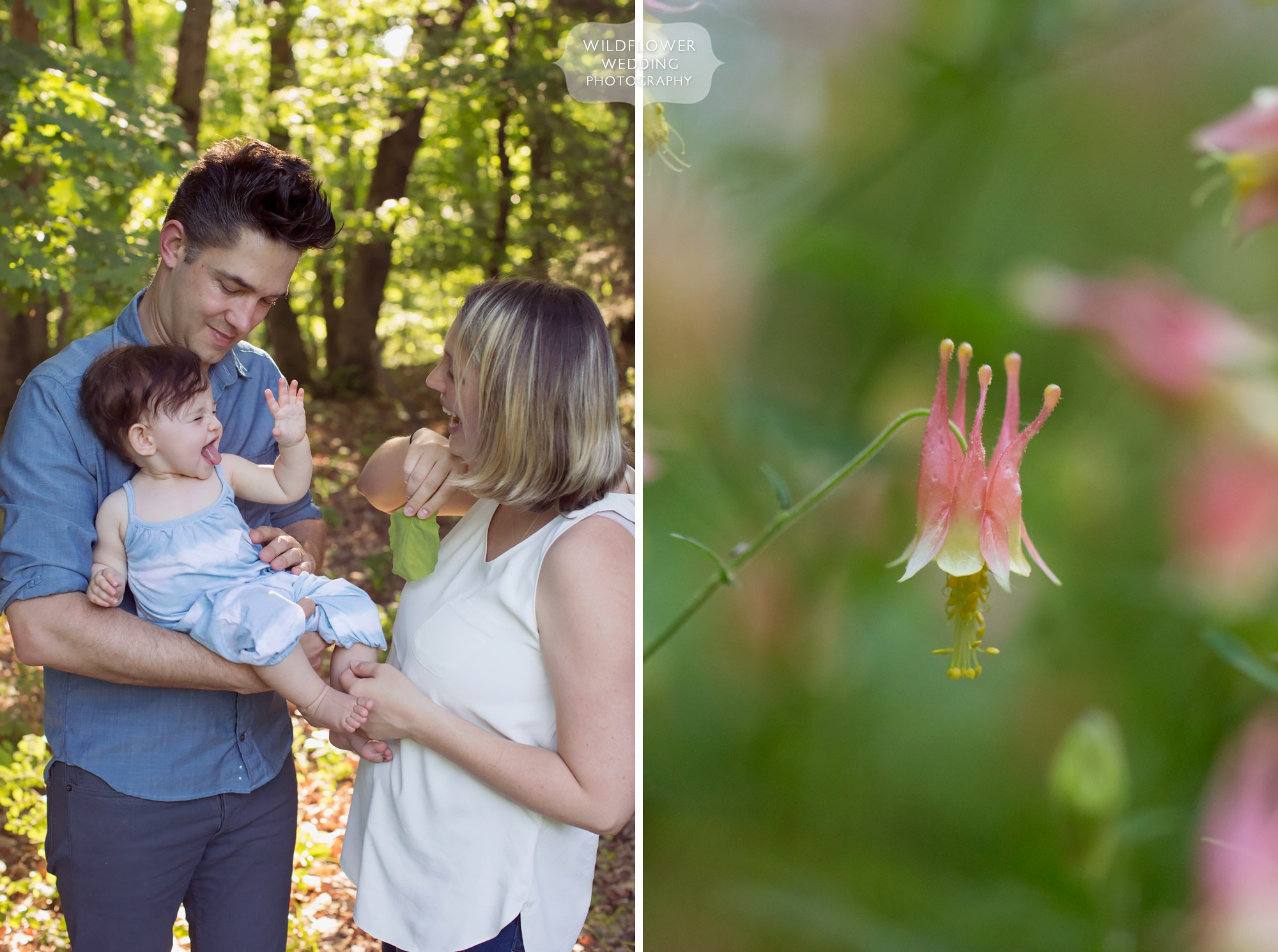 Candid family photos in the woods with nature in mid-MO.