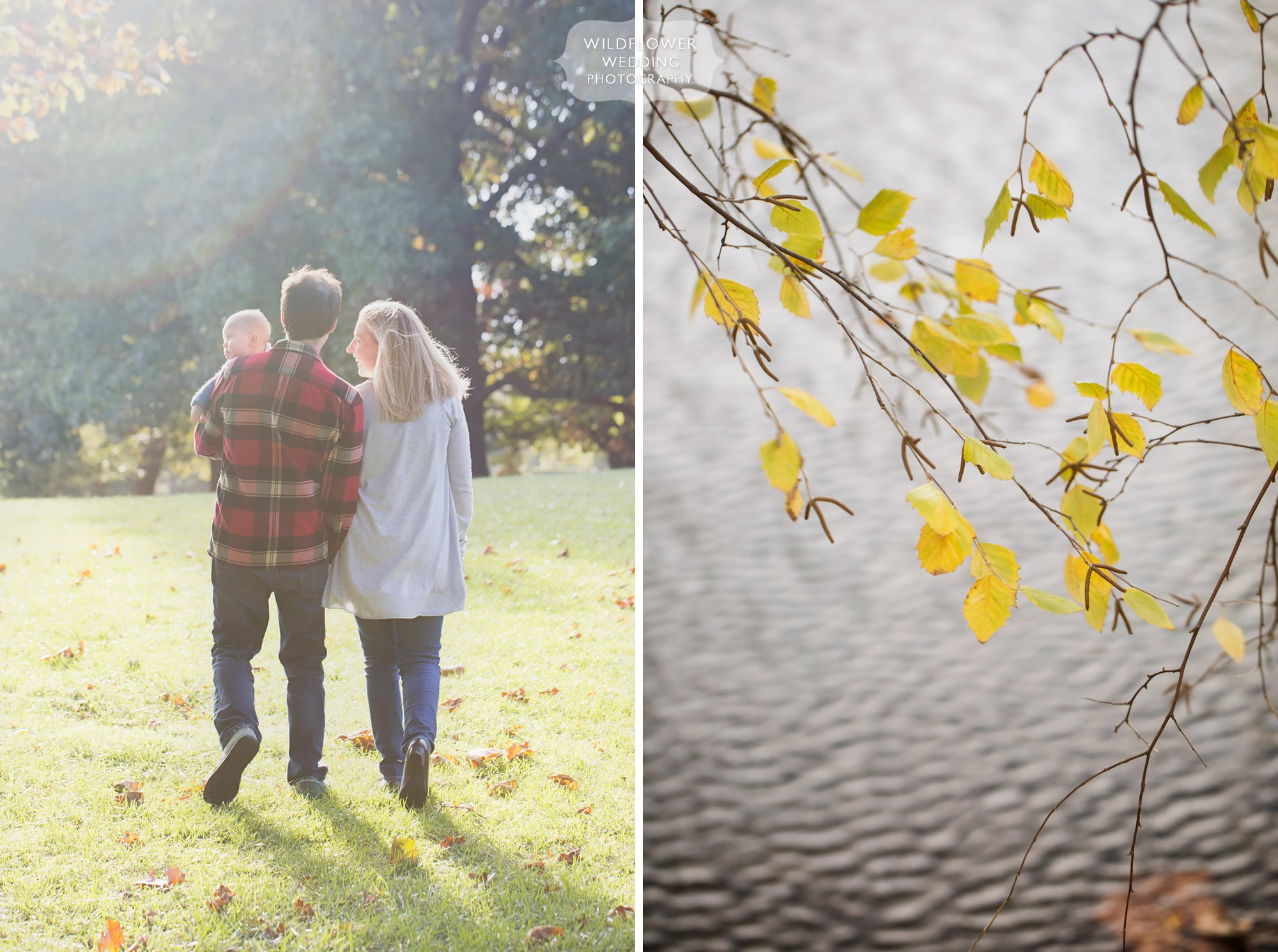 A family walks through the park in KC, Missouri for their natural family photography session.
