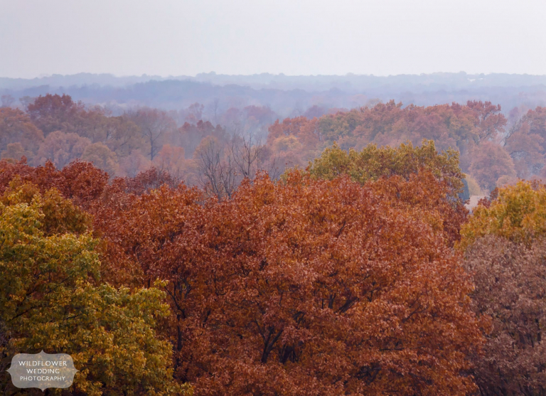 The Missouri River below is surrounded by red and blue fall colors in November in Rocheport, MO.