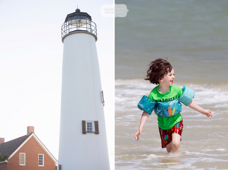 St. George Island lighthouse with boy running in water.