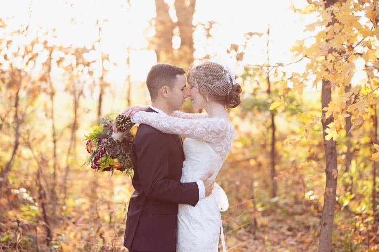 bride and groom during their fall wedding at the schwinn produce farm