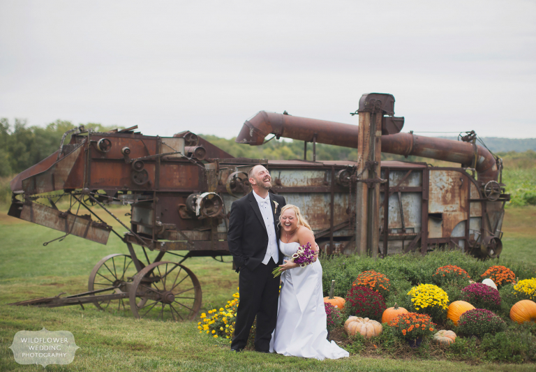 Kansas barn wedding bride and groom at Schwinn Produce Farm.