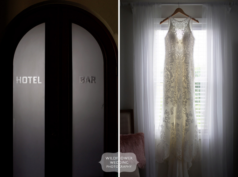 Romantic photo of dress hanging in window at Hotel Frederick in Boonville.