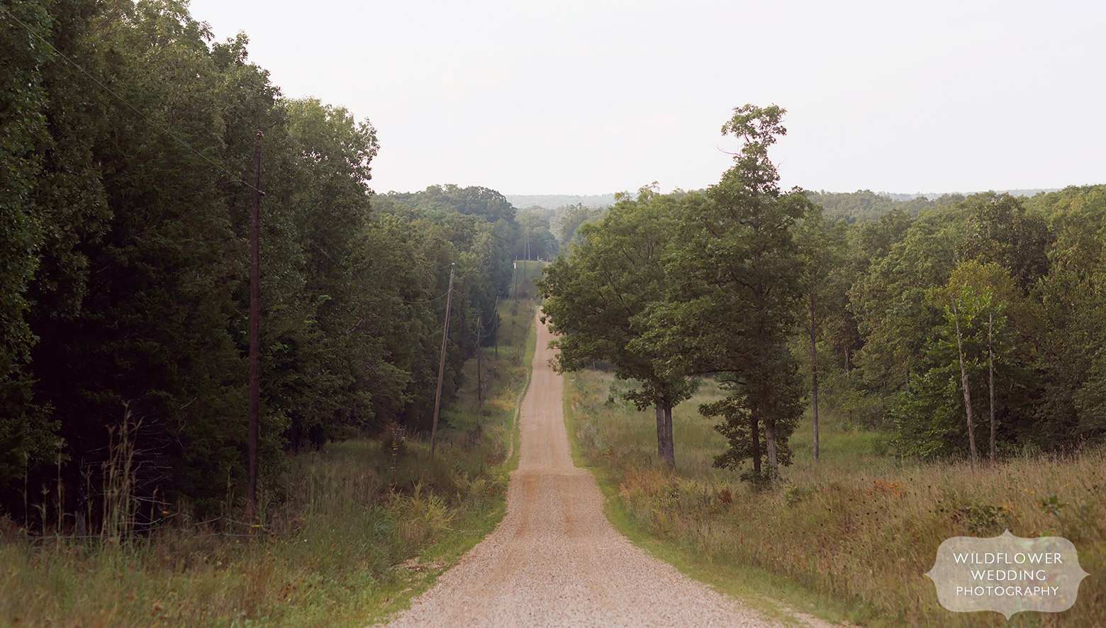 Country road to a Missouri backyard wedding in St. James.