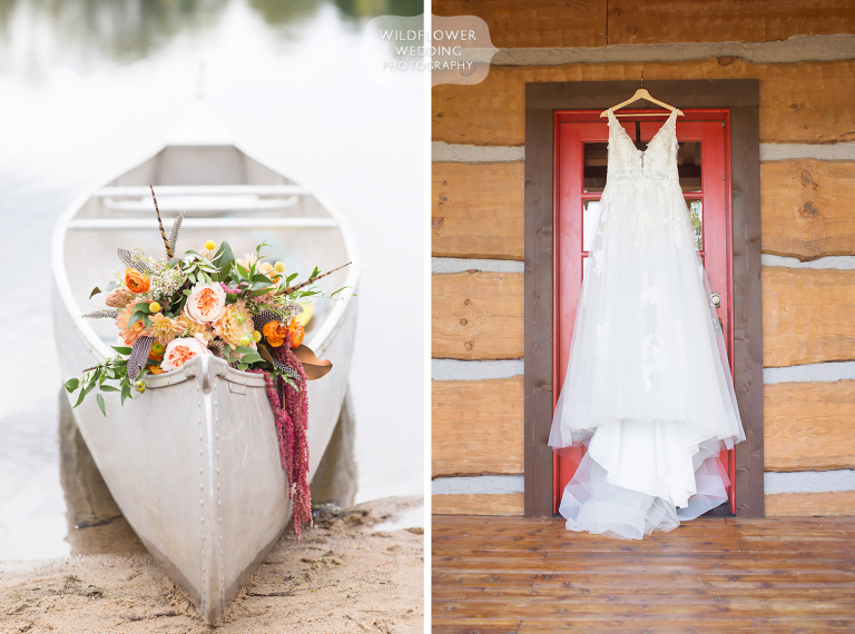 Flowers in a silver canoe at this October Hermann wedding in MO.