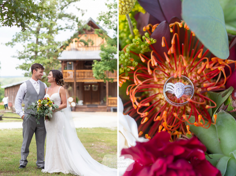 Bride and groom in front of the Weathered Wisdom Barn wedding venue.